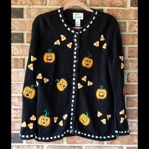 VNTG Quacker Factory Halloween Pumpkin Cardigan S